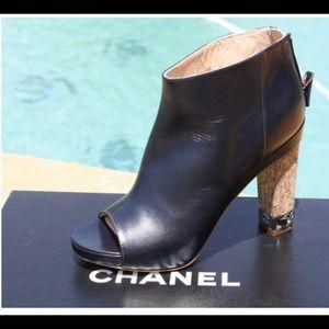 Chanel peep toe booties with cork heel. Size 36.5